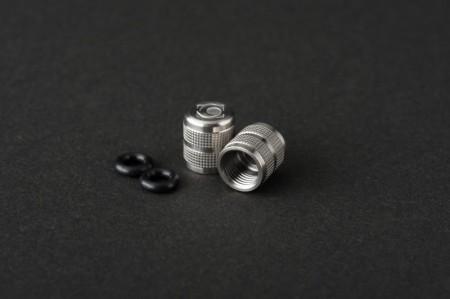 チタンエアバルブキャップ 米式用 チタンシルバー G-SPEC 2個入り